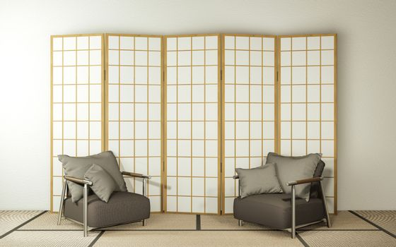 partition paper wooden design and armchair on living room tatami