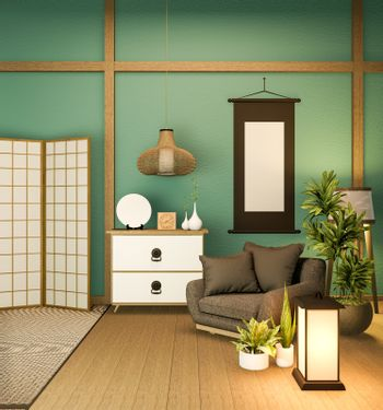 Japanese partition paper wooden design on mint room tatami floor