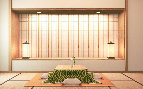 kotatsu low table and pillow on tatami mat, room japan.3D redner