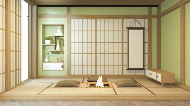Nihon green room design interior with door paper and cabinet shelf wall on tatami mat floor room japanese style. 3D rendering
