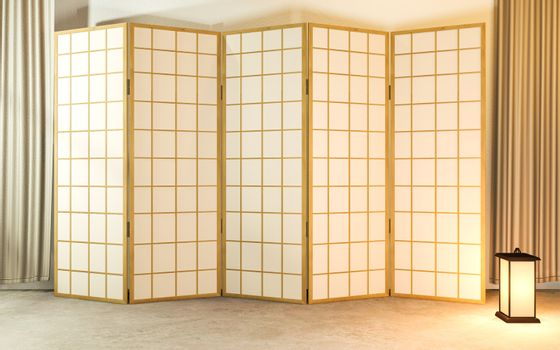 Japanese partition paper wooden design on living room tatami flo