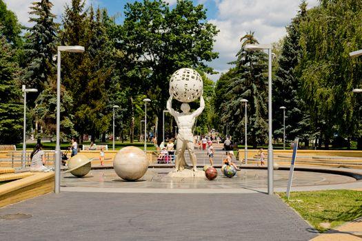 Vinnytsia, Ukraine - July 2020: View of fountain on the prospectus of astronauts.