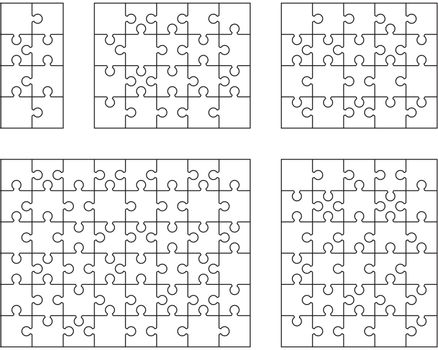 Illustration of five different white puzzles, separate pieces
