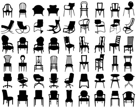 Black silhouettes of different chairs on a white background