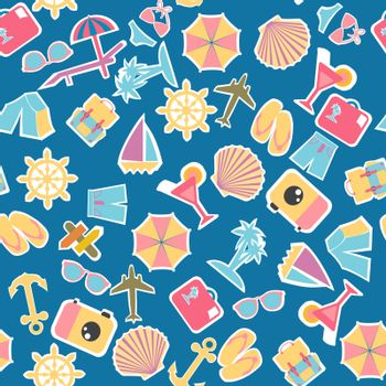 Vector pattern seamless Collection of summer holiday, travel, Vacation stickers. Background on the theme of summer holidays for textiles, wrapping paper.