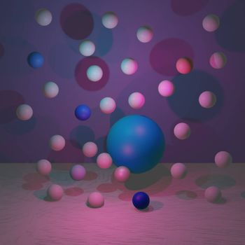 spheres of balls on coral background. Realistic 3d shapes. illustration.