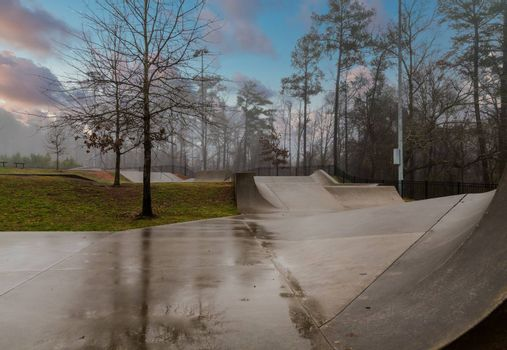 A closed and empty Wet Skate Park after a rainstrorm