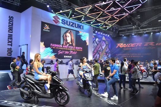 Suzuki motorcycle sign and booth in Pasay, Philippines