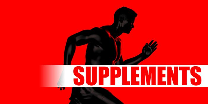 Supplements Concept with Fit Man Running Lifestyle