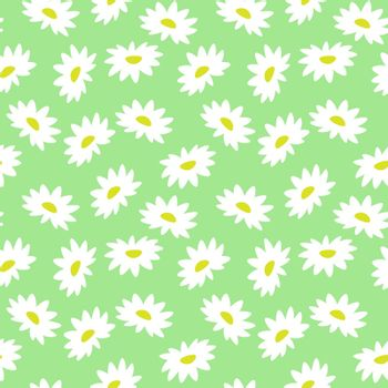 cute bright seamless pattern with chamomile on mint green background