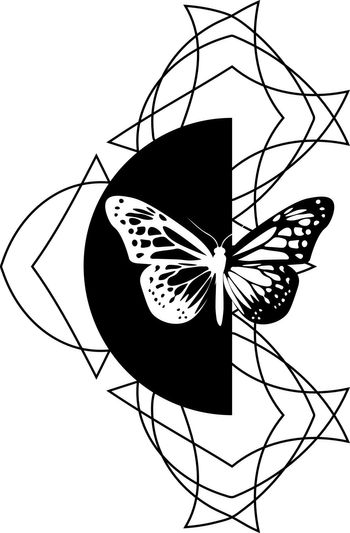 beautiful black and white geometric tattoo illustration with inverse butterfly on semicircle