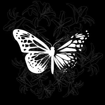 elegant dark gothic illustration of white butterfly and lilies on black background