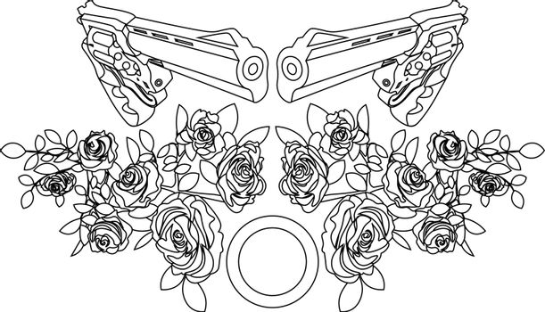 flat line art of two revolvers and roses for tattoo or print