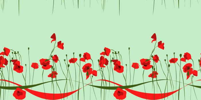 cute horizontal seamless pattern with red poppy flowers and ribbons