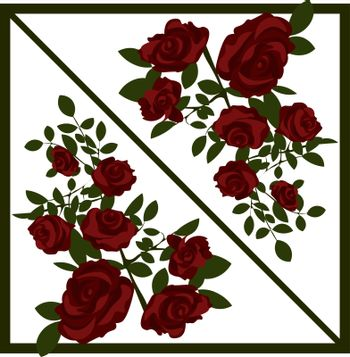 two bouquets of reflected beautiful blooming red roses for greeting card