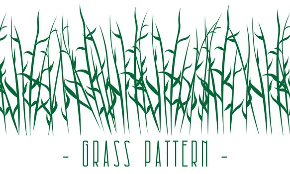 horizontal natural seamless pattern with green meadow or swamp grass stems
