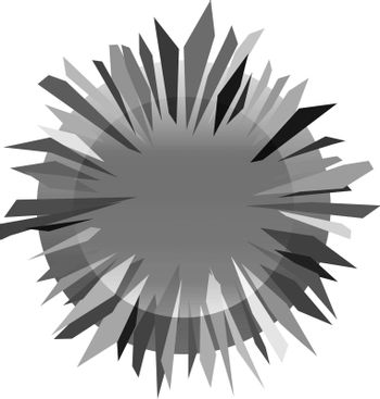 abstract monochrome grey gradient icon with sharp thorny metallic circle
