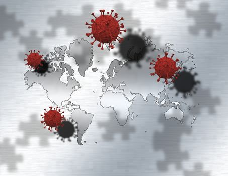 Covid molecules and world map. Puzzle background. 3D rendering