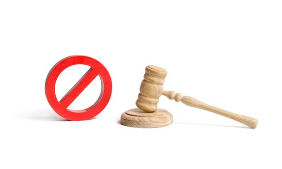 Judge's gavel and NO symbol on an isolated background. The concept of prohibiting and restrictive laws. Prohibitions and criminalization, repression, restriction of freedoms and rights of people