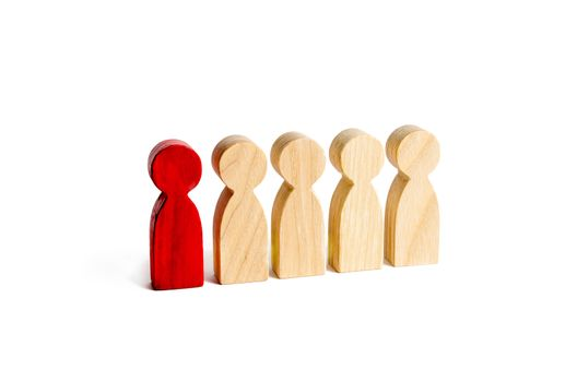 A red man stands with people in a row on a white background. The concept of exceptional and talented employee. Statistics. Spy in among the staff. Selection, recruitment of employees and employees.