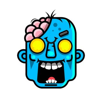Vector illustration of Cartoon Zombie head Suitable For Greeting Card, Poster Or T-shirt Printing.