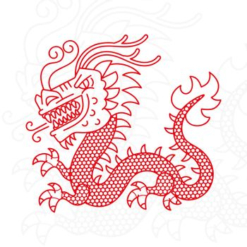 Silhouette of Asian Dragon Vector Illustration Suitable For Greeting Card, Poster Or T-shirt Printing.