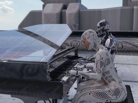 Close up of a robot and a woman playing piano - 3d rendering