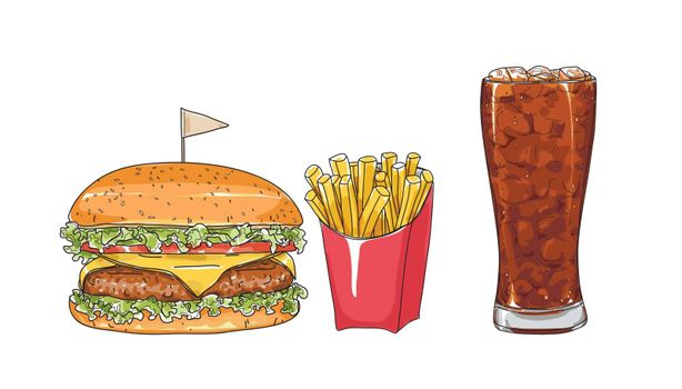 hamburger set. glasses  hand drawn style art Vector illustration