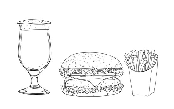 hamburger food set. and beer glasses  hand drawn style line art Vector illustration