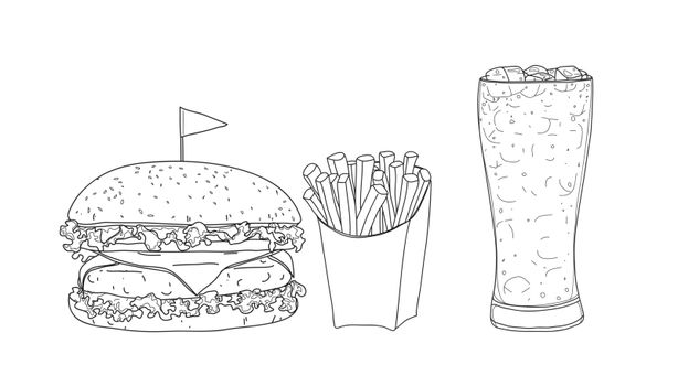 hamburger food set. glasses  hand drawn style line art Vector illustration