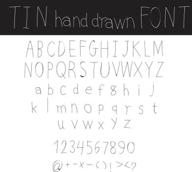 hand drawn Doodle tin font cute vector line art illustration