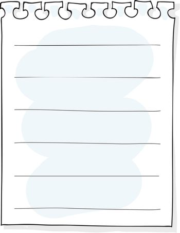 Pieces of ripped white lined notebook paper hand drawn art vector illustration