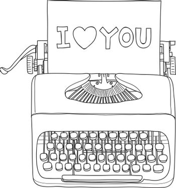 typewriter i love you portable retro hand drawn vector line art illustration