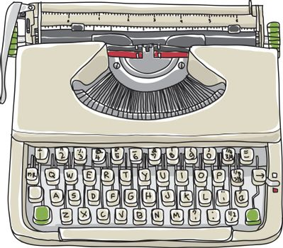 Cream typewriter  vintage hand drawn cute vector line art illustration
