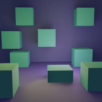 multi-colored volumetric 3d geometric shapes. abstract background of rendered.