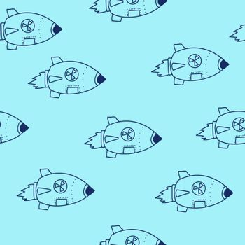 nuclear missile doodle. Vector drawing blue line. Seamless pattern.