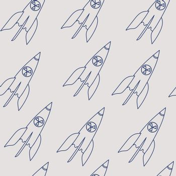 nuclear missile doodle. Vector drawing blue line. Seamless pattern