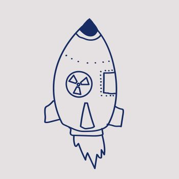 nuclear missile doodle. drawing blue line.