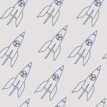nuclear missile doodle. drawing blue line. Seamless pattern