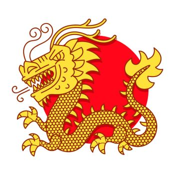 Chinese Red Dragon Symbol Of Power And Wisdom Cartoon Illustration