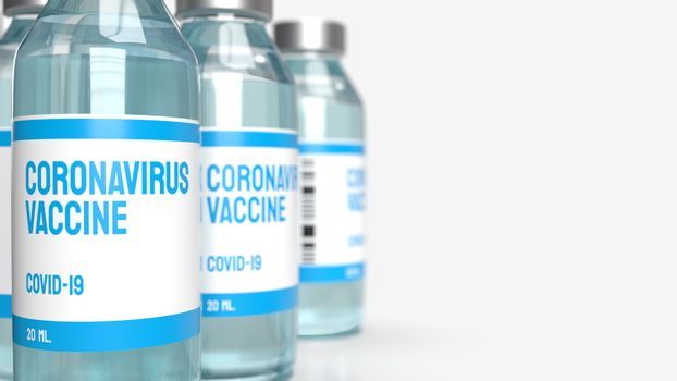 The vaccine covid 19 for medical content 3d rendering.