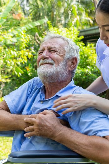 senior retirement man is heart attack while under healthcare by