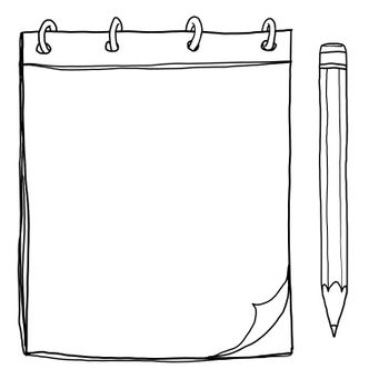notebook with pencil lineart painting cute illustration