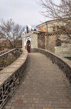 Odessa, Ukraine 03.08.2020. Old historical abandoned sanatorium Kuyalnik in Odessa, Ukraine, on a spring day
