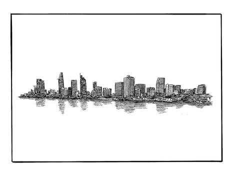 Drawing of the Ho Chi Minh city skyline in Vietnam