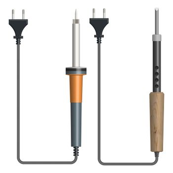 Set of electric soldering irons, vector illustration.