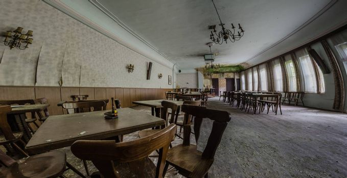 abandoned guesthouse panorama view