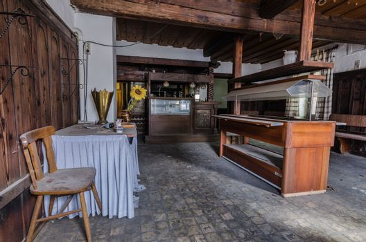 Anteroom and bar in abandoned guest house