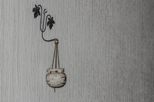 Decoration on a wall in an abandoned house