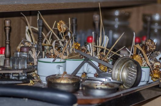many objects on a table in restaurant